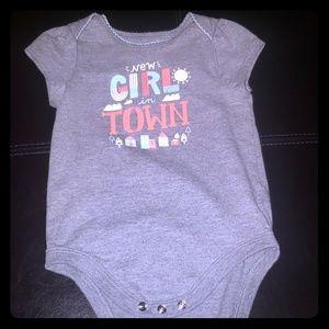 Grey baby girl onesie
